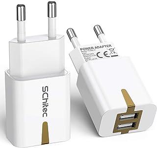 SCHITEC USB Netzteil USB Stecker, 2 Pack USB Ladegerät 2 Port 5V / 2.1A USB Handy Ladeadapter/Ladestecker für iPhone 11 X ...