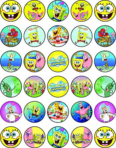 30 x Edible Cupcake Toppers – Spongebob Themed Collection of Edible Cake Decorations | Uncut Edible on Wafer Sheet