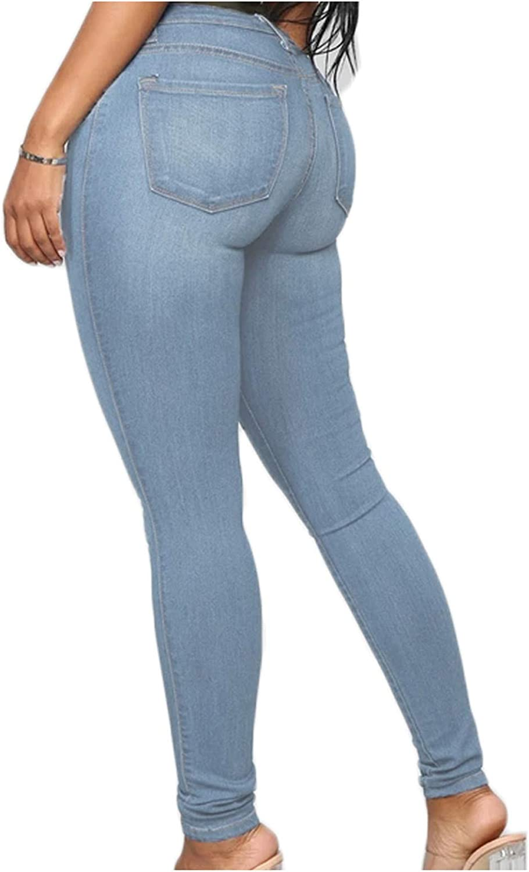 Women's Classic High Waist Solid Blue Denim Skinny Jeans Slim Fit Stretch Skinny Fashion Casual Pencil Pants