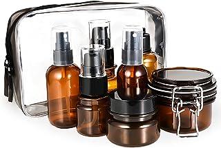 Cizen Botellas de Viaje - 7Pcs Set de Botellas Cosméticas con Efecto Blackout para Almacenar Líquido Cosmético Máscara, Ámbar