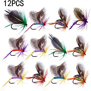 March Bee 12pcs Fly Fishing Flies Set Butterfly Like Trout Bass Floating Fishing Lure - Fly Fishing Lures Wet and Dry Assortment for Trout Fishing and Other Freshwater Fish (Caterpillar)