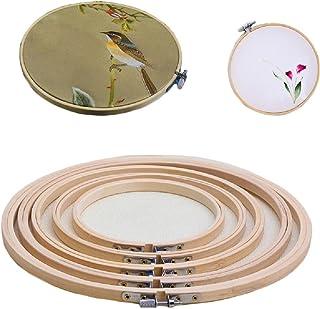 "Yalulu 5 Sets 5-12 Inch Embroidery Hoop Cross Stitch Bamboo Hoop Ring Circle Cross Stitch Sewing Tool DIY Craft Set (5"" 7"" 9"" 10.2"" 12"")"