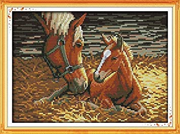 Preprinted Embroidery kit for Beginner Animals Horse D500 Mother and Son 2, Size 13x10 Happy Forever Cross Stitch Kits 11CT Stamped Patterns for Kids and Adults