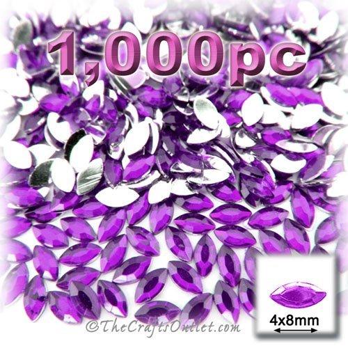 1,000pc Rhinestones Eye Shaped (Navette) 4x8mm Purple Amethyst