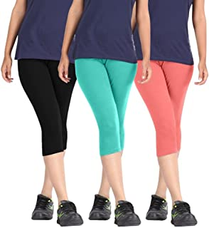 Rooliums Woman Super Fine Cotton Capri Combo (Brand Factory Outlet) Pack Of 3 (Black, Turquoise and Baby Pink) - Free Size