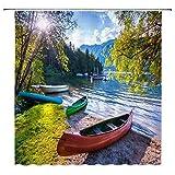 Not Applicable Landschaft Duschvorhang Bergwald See Boot Schöne Natur Sonnenlicht Grüne Badezimmer Vorhänge Dekor Polyester Stoff Wasserdicht 60 X 72 Zoll Inklusive Haken