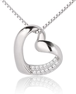 925 Sterling Silver Classic Single Heart Necklace YOU ARE MY SUNSHINE Pendant for Women Ladies Girls Females with Exquisit...