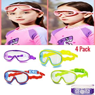 Swim Mask - 4 Pcs Swim Goggles Mask For Kids Children - Adjustable One Size Fits Most Juniors - Diving Snorkeling - Swimming - Sturdy Strap - Fits Snugly Around Eyes & Face - Includes Nose & Ear Plugs