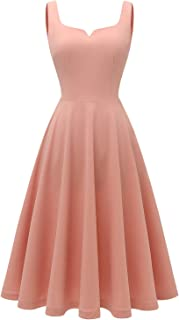 Women's Tea-Length Bridesmaid Cocktail Swing Prom Dress with Pockets