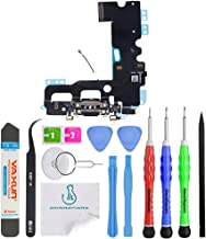 OmniRepairs Charging USB Dock Port Flex Cable Replacement with Microphone and Cellular Antenna Compatible for iPhone 7 Model (A1660, A1778, A1779, A1780) with Repair Toolkit (Black)