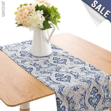 Linen Blend Damask Table Runner One Piece 13 by 72 inch, Blue
