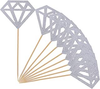 Topoox 50 Pack Cupcake Toppers Silver Glitter Diamond for Cupcake Decor Bridal Shower Decoration