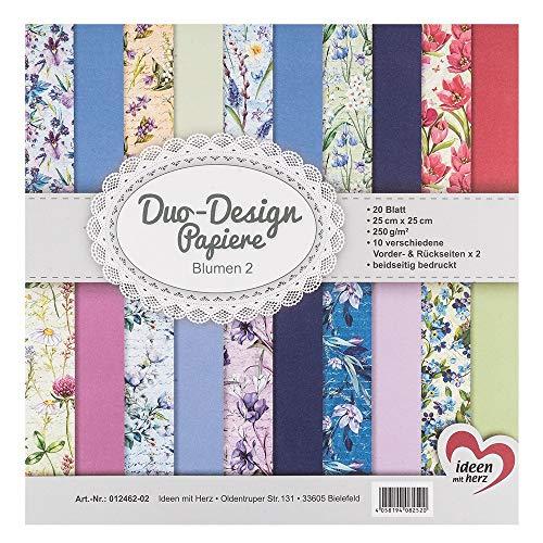 Ideen mit Herz Duo-Design-Papiere | Block mit 20 Blatt Bastelpapier | 25 x 25 cm | 250g/m² | beidseitig Bedruckt | Designpapier, Motivpapier | ideal für Scrapbooking, Basteln (Blumen 02)