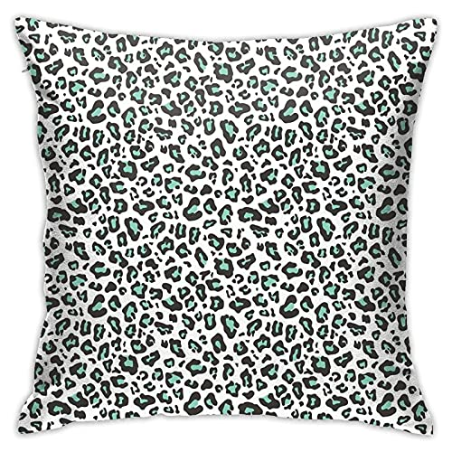 DONGSHAN Fundas de almohada decorativas de piel de leopardo, color verde menta, fundas de cojín suaves al aire libre para el hogar, fundas de cojín de 18 x 18 pulgadas, para sofá, cama, silla