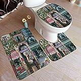Juego de alfombras de baño de 3 piezas,Clásico europeo francés...