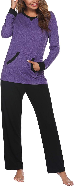 Ekouaer Pajamas Sets Women's Long Sleeve Sleepwear Tops with Long Pants Soft Loungewear Pj Set with Pocket S-XXL