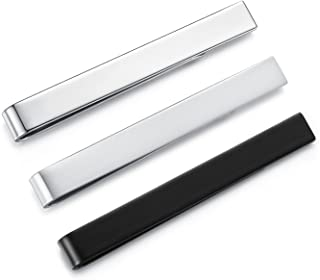 HONEY BEAR 3/6pcs Mens Tie Clip Set Tie Bar - Normal Size Stainless Steel for Business Wedding Gift,5.4cm (3pcs Set Withou...