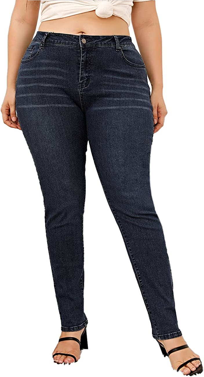 XIAGRKUI Women Plus-Size Capri Pants Comfortable Curvy Skinny Jeans
