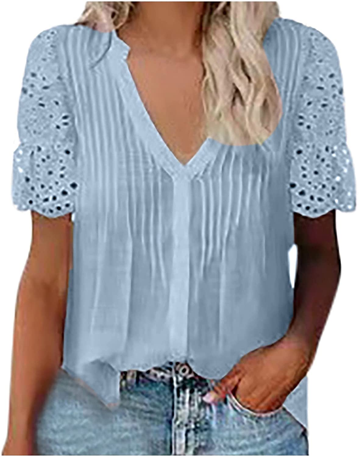 Women Solid Shirts V Limited Special Price Neck Blouse Sleeve Casual Ranking integrated 1st place Tops Lace Short T