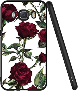 Eouine Samsung Galaxy J5 2016 Case, Phone Case 3D Relief Silicone Black Embossed with Floral Flowers Pattern Design Slim S...