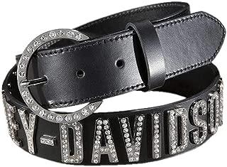 Harley-Davidson Women's Belt, Crystal H-D Font, Black Leather HDWBT10627