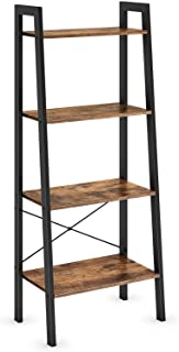 Ballucci Industrial Bookshelf, 4-Tier Ladder Shelf, Bookcase Storage Rack Shelves, with Metal Frame, for Living Room, Bedroom, Kitchen, Office, Rustic Brown