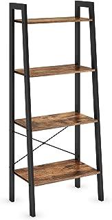 Ballucci Industrial Bookshelf, 4-Tier Ladder Shelf, Bookcase Storage Rack Shelves, with Metal Frame, for Living Room, Bedroom, Kitchen, Office, Rustic Brown