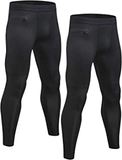 2 Pack Men's Compression Pants Cool Dry Gym Workout Running Leggings Baselayer Sports Tights
