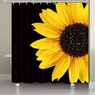 JAWO Sunflower Shower Curtain, Autumal Wild Flower Half Zoom Up Sunflower Nature Black and Yellow Art Bath Curtain for Bathroom, 69X65