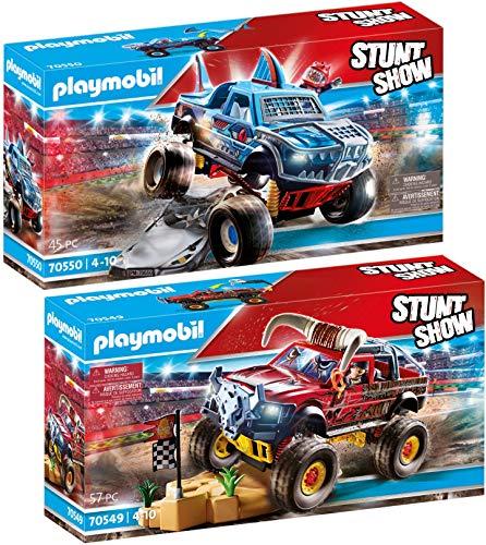 PLAYMOBIL Stuntshow Juego de 2 Piezas 70549 70550 Monster Truck Horned + Monster Truck Shark