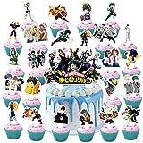 Toniya 25 Pcs My Hero Academia Cake Toppers Mha Happy Birthday Party Supplies Anime Heroes Cupcake Decorations for Boys