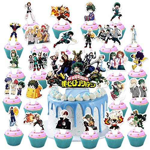 Toniya 25 Pcs My Hero Academia Cake Toppers Mha Happy Birthday Party Supplies Anime Heroes Cupcake Decorations for Boys