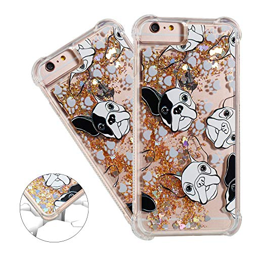 HMTECHUS iPhone 6S case Unique Creative 3D Pattern Quicksand Diamonds Floating Luxury Shiny Glitter Flowing Liquid Shockproof Protect Silicone Cover for iPhone 6 / iPhone 6S Bling Dog YB