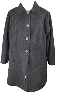 Anne Klein Plus Size Charcoal Single-Breasted Walker Coat W