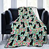 Affenpinscher Floral Dog Mint Flannel Fleece Blanket Foldrable Fuzz Throw Blanket for Bed Sofa Chair Couch 60'x50'