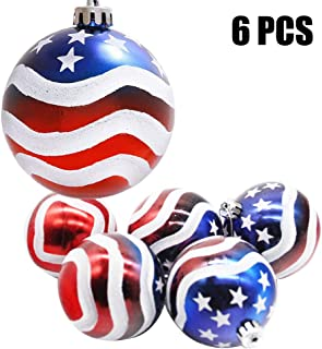 H&W 6pcs Christmas Ball Ornaments US Flag for Christmas Tree Parties Festival Decoration, 3.15 inch (MC3-D1)