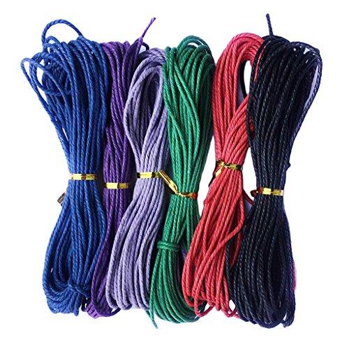 MagiDeal 6 Piezas Hilo de Algodón Encerado Elegante de Multicolores para Fabricación de Joyas - # 1