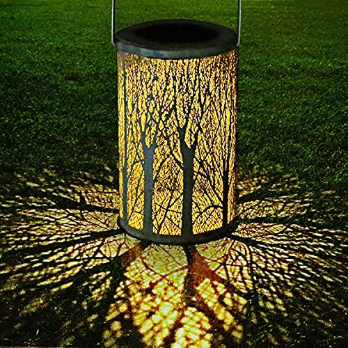 CRZJ Linternas solares LED, Luces Decorativas Colgantes de jardín al Aire Libre, lámpara de Mesa de Metal Impermeable Impermeable, para jardín Patio Patio césped Mesa de césped,Blanco