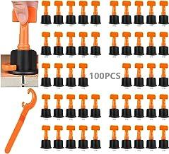 DQTYE Kit de nivellement de carrelage - 100 pièces - Avec clé spéciale - Réutilisables - Pour la construction de sols muraux