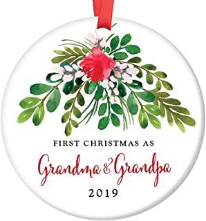 Grandma & Grandpa Ornament 2019 First Christmas as Grandmom & Grandpop New Grandparents Porcelain Ornament, 3