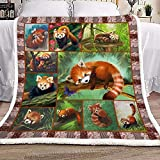Givingcustom Red Panda Blanket Gift for Panda Lovers Birthday Gift Home Decor Bedding Couch Sofa Soft and Comfy Cozy