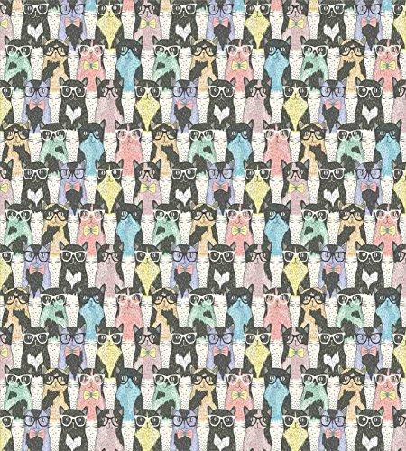 Juego de funda nórdica de gato, patrón con personajes felinos juguetones Hipster con gafas y pajaritas estilo vintage, juego de cama decorativo de 3 piezas con 2 fundas de almohada, cuidado fácil mult