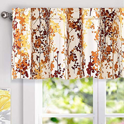 DriftAway Leah Abstract Floral Blossom Ink Painting Thermal Insulated Window Curtain Valance Rod Pocket 52 Inch by 18 Inch Plus 2 Inch Header Red Rust Orange Gold 1 Pack