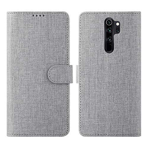CRESEE für Xiaomi Redmi Note 8 Pro Hülle Hülle, PU Leder Tasche mit 3 Kartenfächer, Magnetverschluss Schutzhülle Flip Cover Standfunktion Stoßfest Brieftasche Handyhülle für Redmi Note 8 Pro (Grau)