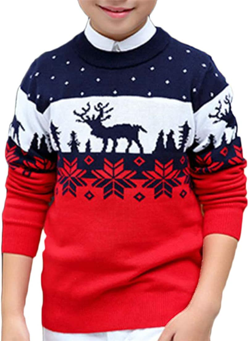 XiaoTianXinBaby XTX Boy Knitting Crew Neck Printing Classical X-Mas Kids Sweaters