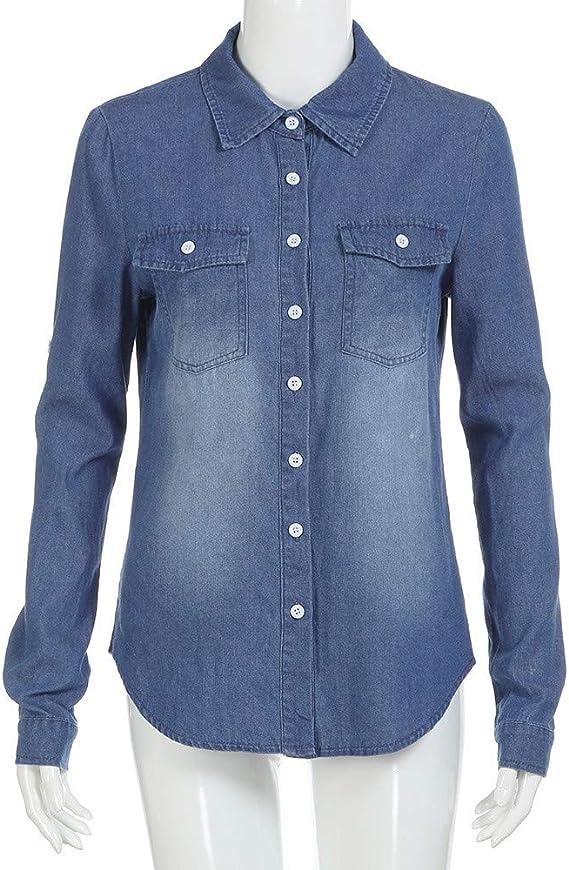 VJGOAL Moda para Mujer Casual Azul Jean Solapa Botón Camisa de Manga Larga Tops Blusa Chaqueta