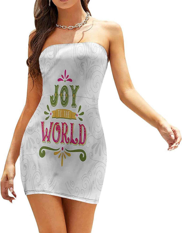 Women's Summer Strapless Dresses Calligraphy Joy to World Dresses