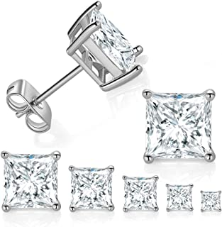Best 5 Pairs 18K White Gold Plated Princess Cut Clear Cubic Zirconia Stud Earring Pack Review