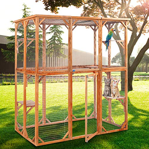JAXPETY Large Wooden Outdoor Pet Cat House Enclosure Catio Cage Dog Kennel Parrot Cage, Outdoor...