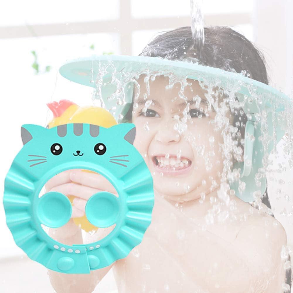 Baby Shower Cap Adjustable Silicone Shampoo Bath Cap Durable and Safe Waterproof Shampoo Shower Cap (Green)